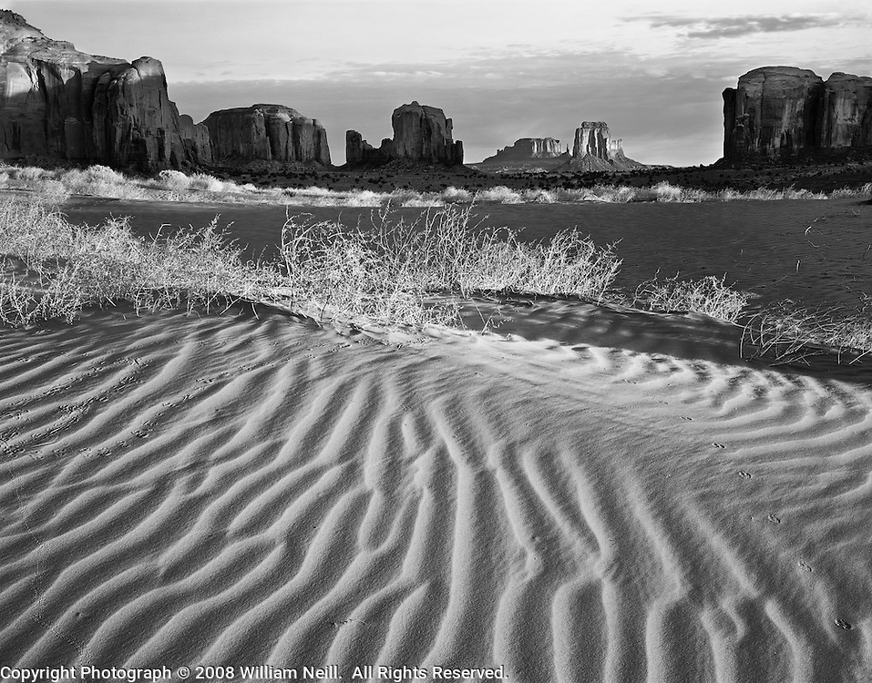 Sand dunes at sunrise, Monument Valley Tribal Park, Arizona