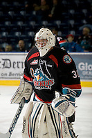 KELOWNA, CANADA, NOVEMBER 25: Jordon Cooke #30 of the Kelowna Rockets warms up on the ice as the Kootenay Ice visit the Kelowna Rockets  on November 25, 2011 at Prospera Place in Kelowna, British Columbia, Canada (Photo by Marissa Baecker/Shoot the Breeze) *** Local Caption *** Jordon Cooke;