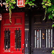 Row house entrance doors, Old Town, Montreal, Quebec, Canada