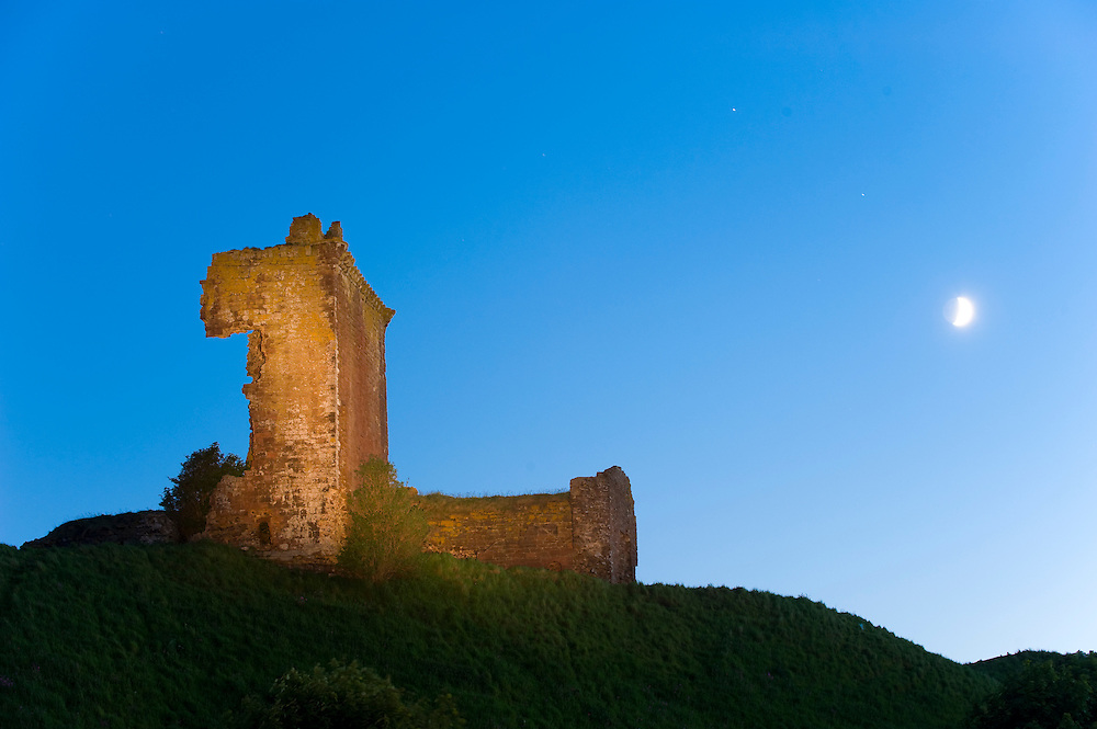 Red castle at dusk, Angus, Scotland