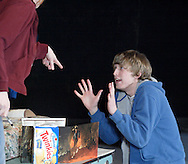 Megan Cooper (left) and Tim Moore during a dress rehearsal of Kimberly Akimbo at the Dayton Theatre Guild in Dayton, Tuesday, February 23, 2010.