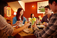 Group of friends dining<br /> Felin Fach Griffin<br /> Near Brecon<br /> Powys<br /> South<br /> People<br /> Dining<br /> Lifestyle<br /> Restaurants