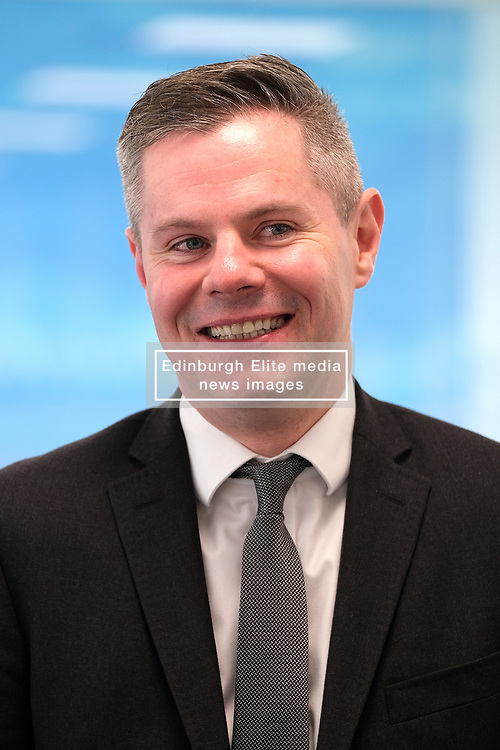 Derek Mackay visit, Wednesday, 18th December 2019<br /> <br /> Economy Secretary Derek Mackay today visited Emtec Group in Ratho Station to officially open their new office and comment on the latest GDP statistics.<br /> <br /> Pictured: Scottish Government Economy Secretary Derek Mackay<br /> <br /> Alex Todd | Edinburgh Elite media