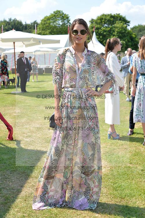 Sarah Ann Macklin at Cartier Queen's Cup Polo, Guard's Polo Club, Berkshire, England. 18 June 2017.<br /> Photo by Dominic O'Neill/SilverHub 0203 174 1069 sales@silverhubmedia.com