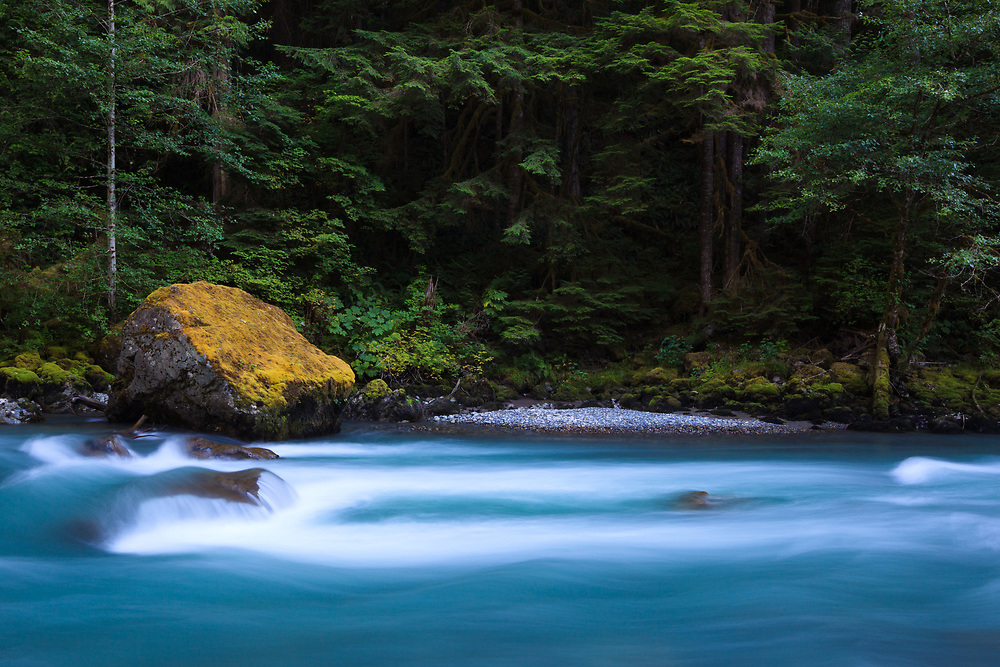 The cool blue waters of the North Fork of the Nooksack River along the Horseshoe Bend Trail in Glacier Washington.