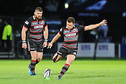 Duncan Weir scores penalty during the Guinness Pro 14 2017_18 match between Edinburgh Rugby and Benetton Treviso at Myreside Stadium, Edinburgh, Scotland on 15 September 2017. Photo by Kevin Murray.
