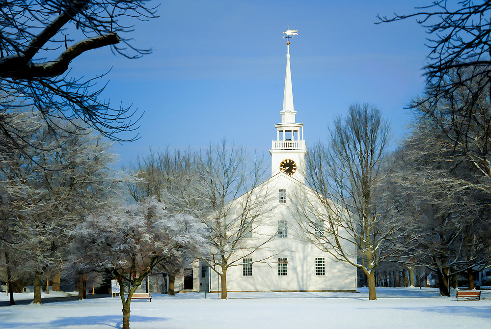 FIRST PARISH CHURCH COHASSET IN SNOW