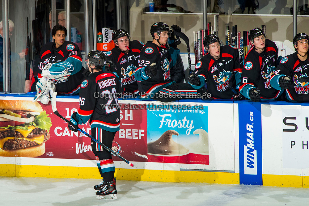 KELOWNA, CANADA - OCTOBER 10: Liam Kindree #26 of the Kelowna Rockets celebrates a goal against the Seattle Thunderbirds  on October 10, 2018 at Prospera Place in Kelowna, British Columbia, Canada.  (Photo by Marissa Baecker/Shoot the Breeze)  *** Local Caption ***