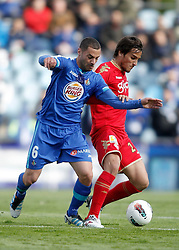 07.04.2012, Stadion Coliseum Alfonso Perez, Getafe, ESP, Primera Division, FC Getafe vs Sporting Gijon, 32. Spieltag, im Bild Getafe's Mehdi Lacen against Sporting de Gijon's Oscar Trejo // during the football match of spanish 'primera divison' league, 32th round, between FC Getafe and Sporting Gijon at Coliseum Alfonso Perez stadium, Getafe, Spain on 2012/04/07. EXPA Pictures © 2012, PhotoCredit: EXPA/ Alterphotos/ Alvaro Hernandez..***** ATTENTION - OUT OF ESP and SUI *****
