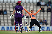 Tash Farrant of Southern Vipers appeals for the wicket of Chamari Atapattu during the Women's Cricket Super League match between Southern Vipers and Loughborough Lightning at the Ageas Bowl, Southampton, United Kingdom on 28 August 2019.