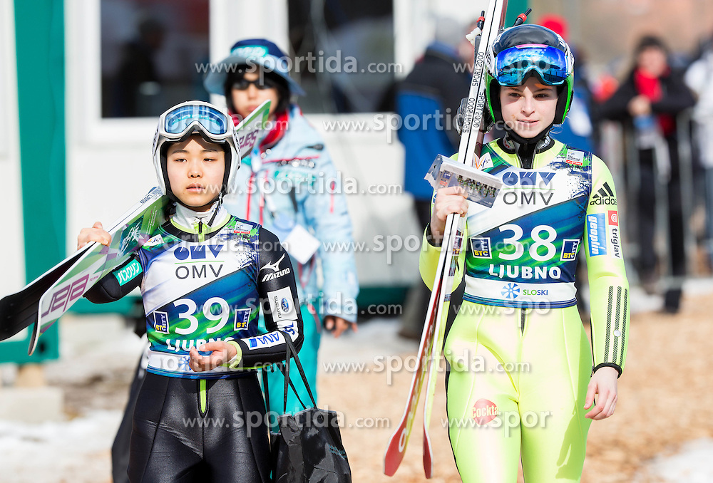 Sara Takanashi (JPN) and Spela Rogelj (SLO) during Trial Round at Day 1 of World Cup Ski Jumping Ladies Ljubno 2015, on February 14, 2015 in Ljubno, Slovenia. Photo by Vid Ponikvar / Sportida