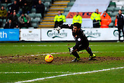 Mansfield Town Goalkeeper Scott Shearer dives to try and keep the shot of Plymouth Argyle's Gregg Wylde out but can't during the Sky Bet League 2 match between Plymouth Argyle and Mansfield Town at Home Park, Plymouth, England on 13 February 2016. Photo by Graham Hunt.