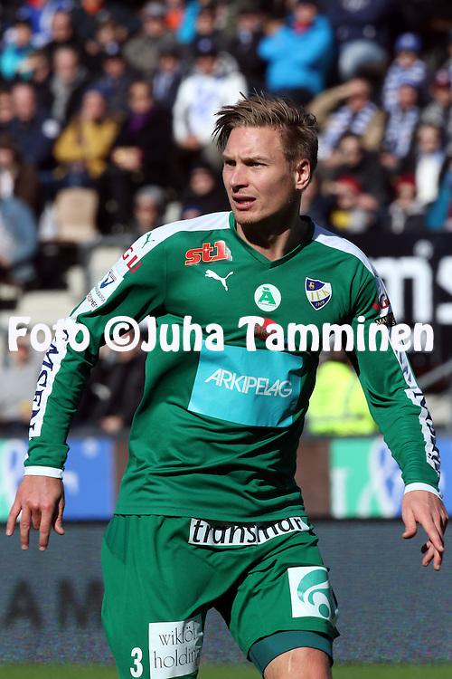 2.4.2016, Sonera Stadion, Helsinki.<br /> Veikkausliiga 2016.<br /> Helsingin Jalkapalloklubi - IFK Mariehamn.<br /> Kristian Kojola - IFK Mariehamn