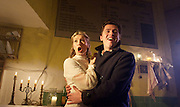 Sweeney Todd<br /> by Tooting Arts Club <br /> at Harrington's Pie &amp; Mash Shop, London, Great Britain <br /> press photocall <br /> 16th March 2015 <br /> <br /> <br /> Zoe Doano as Joanna Barker <br /> <br /> Nadim Naaman as Anthony Hope <br /> <br /> <br /> Photograph by Elliott Franks <br /> Image licensed to Elliott Franks Photography Services
