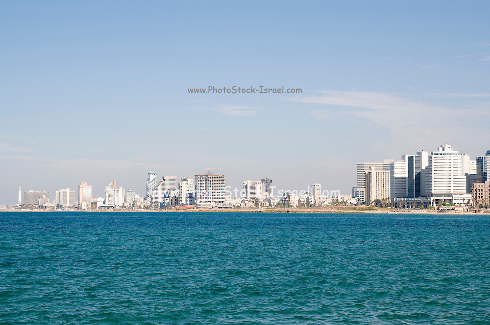 Israel, Tel Aviv coastline as seen from south from Old Jaffa