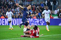 But Jeremy MOREL csc / Zlatan IBRAHIMOVIC  / Steve MANDANDA- 05.04.2015 - Marseille / Paris Saint Germain - 31eme journee de Ligue 1<br />Photo : Dave Winter / Icon Sport