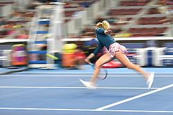 BEIJING, Oct. 5, 2018  Katerina Siniakova of the Czech Republic hits a return during the women's singles quarterfinal match against Caroline Wozniacki of Denmark at China Open tennis tournament in Beijing, China, Oct. 5, 2018. Katerina Siniakova lost 0-2. (Credit Image: © Xinhua via ZUMA Wire)
