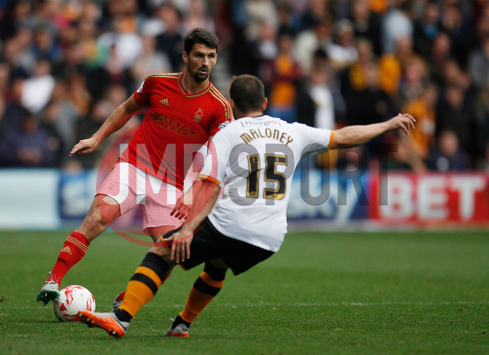 Eric Lichaj of Nottingham Forest (L) in action - Mandatory byline: Jack Phillips / JMP - 07966386802 - 3/10/2015 - FOOTBALL - The City Ground - Nottingham, Nottinghamshire - Nottingham Forest v Hull City - Sky Bet Championship