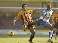 Photo: Aidan Ellis.<br /> Bradford City v Swindon Town. Coca Cola League 1. 11/02/2006.<br /> Swindon's  Ricky Shakes and Bradfgord's Bobby Peta