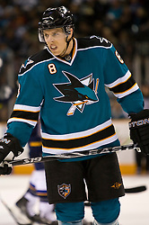 January 6, 2010; San Jose, CA, USA; San Jose Sharks center Joe Pavelski (8) during the first period against the St. Louis Blues at HP Pavilion. San Jose defeated St. Louis 2-1 in overtime. Mandatory Credit: Jason O. Watson / US PRESSWIRE