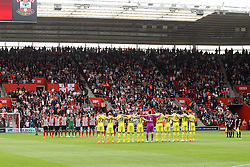 Southampton and Tottenham Hotspur observe a minutes silance for the Bradford City fire anniversary - Photo mandatory by-line: Robbie Stephenson/JMP - Mobile: 07966 386802 - 25/04/2015 - SPORT - Football - Southampton - ST Marys Stadium - Southampton v Tottenham Hotspur - Barclays Premier League