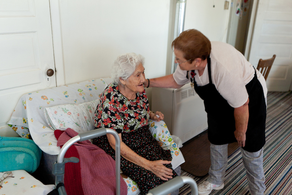Bernis Chavez chats with a client on her route while making deliveries to Torrance County senior citizens. New Mexico has received more than $601,000 for senior meals programs around the state.