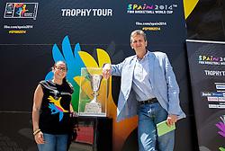 Cristel Garcia and Predrag Bogosavljev at FIBA Basketball World Cup Spain 2014 Trophy Tour, on June 20, 2014 in Ban Jelacic Square, Zagreb, Croatia. Photo By Vid Ponikvar / Sportida