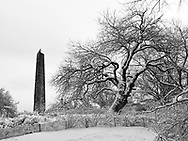 Cleopatra's Needle in the snow in Central Park