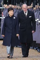 The Duke of Edinburgh and the President of the Republic of Korea Her Excellency Park Geun-hye on Horse Guards Parade for her ceremonial welcome visit to the UK, London, Tuesday, 5th November 2013. Picture by Stephen Lock / i-Images