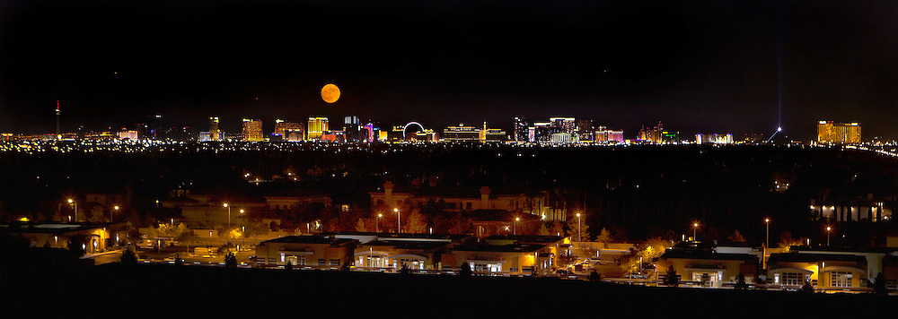 A Supermoon rises over the Las Vegas Strip as seen from the west hills on Monday, Nov. 14, 2016. L.E. Baskow