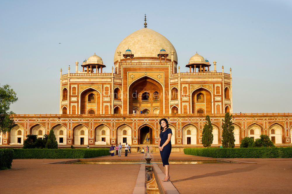 19th May 2014, New Delhi, India. Monica Kumar of KPMG inside the grounds of Humayun's Tomb monument in New Delhi, India on the 19th May 2014<br /> <br /> PHOTOGRAPH BY AND COPYRIGHT OF SIMON DE TREY-WHITE<br /> + 91 98103 99809<br /> email: simon@simondetreywhite.com photographer in delhi