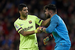 February 10, 2019 - Bilbao, Vizcaya, Spain - Luis Suarez of Barcelona and Iago Herrerin of Athletic during the week 23 of La Liga between Athletic Club and FC Barcelona at San Mames stadium on February 10 2019 in Bilbao, Spain. (Credit Image: © Jose Breton/NurPhoto via ZUMA Press)