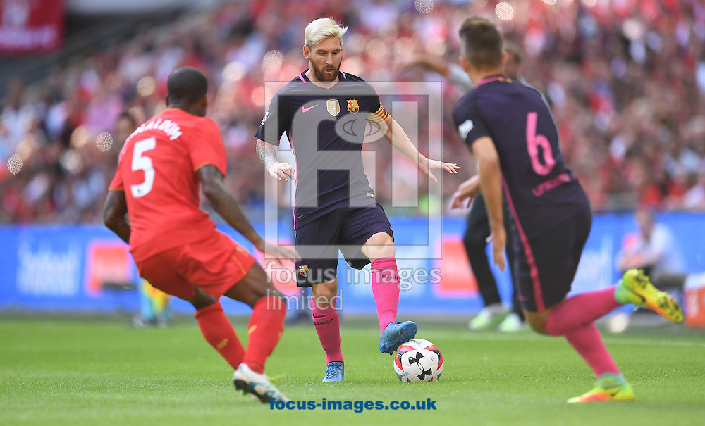 Lionel Messi of FC Barcelona during the International Champions Cup match against Liverpool at Wembley Stadium, London<br /> Picture by Andrew Timms/Focus Images Ltd +44 7917 236526<br /> 06/08/2016