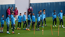 MANCHESTER, ENGLAND - Monday, April 9, 2018: Manchester City's Raheem Sterling and team-mates during a training session at the City Football Academy ahead of the UEFA Champions League Quarter-Final 2nd Leg match between Manchester City FC and Liverpool FC. (Pic by David Rawcliffe/Propaganda)