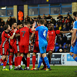 TELFORD COPYRIGHT MIKE SHERIDAN 22/12/2018 - Disallowed goal - Telford players remonstrate with the referee after a disallowed equaliser for telford during the Vanarama Conference North fixture between Chester FC and AFC Telford United at the Swansway Deva Stadium, Chester.