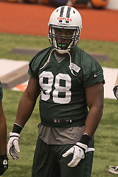 June 12, 2012; Florham Park, NJ, USA; New York Jets defensive end Quinton Coples (98) during New York Jets Minicamp at the Atlantic Health Training Center.
