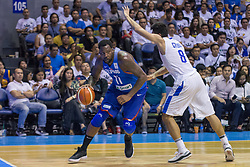 November 27, 2017 - Cubao, Quezon City, Philippines - Andray Blatche challenging the defense of Po-Chen Chou.Gilas Pilipinas defended their home against Chinese Taipei. Game ended at 90 - 83. (Credit Image: © Noel Jose Tonido/Pacific Press via ZUMA Wire)