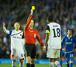 BIRMINGHAM, ENGLAND - Thursday, November 3, 2011: Club Brugge's Keith Fahey is shown the yellow card by referee Marcin Borski during the UEFA Europa League Group H match against Birmingham City at St. Andrews. (Pic by David Rawcliffe/Propaganda)