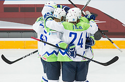 Luka Vidmar of Slovenia, Robert Sabolic of Slovenia, Anze Kuralt of Slovenia, Ales Kranjc of Slovenia and Rok Ticar of Slovenia celebrate after scoring first goal during the 2017 IIHF Men's World Championship group B Ice hockey match between National Teams of Finland and Slovenia, on May 10, 2017 in AccorHotels Arena in Paris, France. Photo by Vid Ponikvar / Sportida