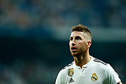 Real Madrid's Spanish defender Sergio Ramos reacts during the Spanish championship Liga football match between Real Madrid CF and Leganes on September 1, 2018 at Santiago Bernabeu stadium in Madrid, Spain - Photo Benjamin Cremel / ProSportsImages / DPPI