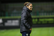 Forest Green Rovers academy manager Hannah Dingley watches on during the warm up during the FA Youth Cup match between Forest Green Rovers and Helston Athletic at the New Lawn, Forest Green, United Kingdom on 29 October 2019.