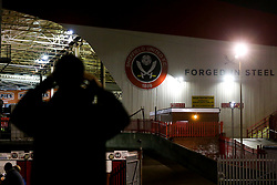 A fan takes a picture of Bramall Lane ahead of Sheffield United v Sheffield Wednesday in the Sky Bet Championship - Mandatory by-line: Robbie Stephenson/JMP - 09/11/2018 - FOOTBALL - Bramall Lane - Sheffield, England - Sheffield United v Sheffield Wednesday - Sky Bet Championship