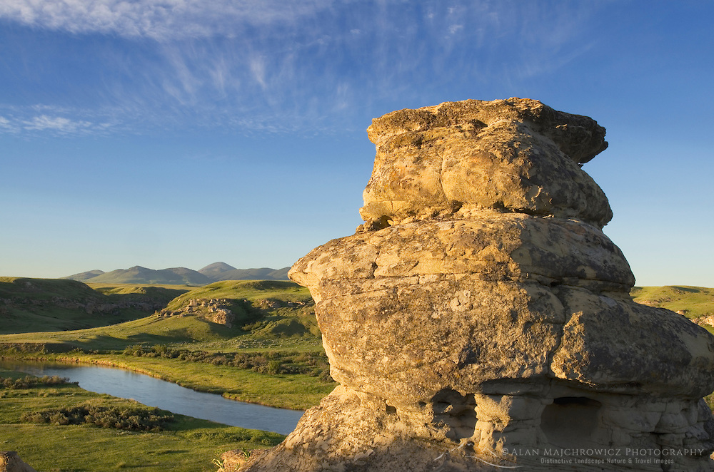 Eroded sandstone hoodoos and rock formations along the Milk River, Writing on Stone Provincial Park Alberta Canada