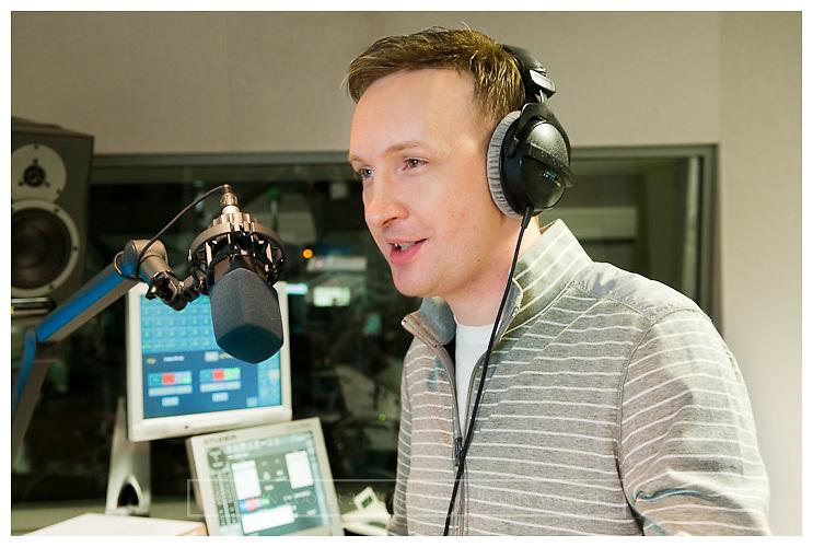 BBC Presenter Graham Stewart in radios studio at BBC Scotland.