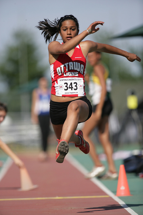 (Sherbrooke, Quebec -- 9 Aug 2009)  Divyajyoti Biswal of Ottawa Lions T.F.C. competes in triple jump at the 2009 Legion Youth National Track and Field Championships. Photograph copyright Sean Burges / Mundo Sport Images  2009.