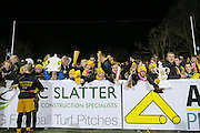 Sutton United fans with replica FA Cup before the FA Cup match between Sutton United and Arsenal at Gander Green Lane, Sutton, United Kingdom on 20 February 2017. Photo by Phil Duncan.