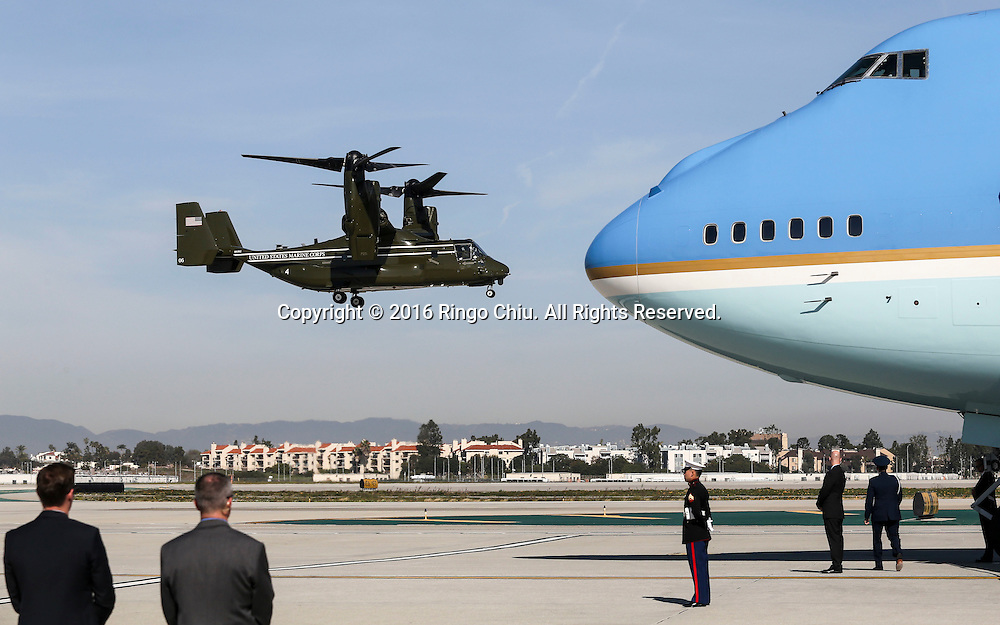An &quot;Osprey&quot; aircraft lands next to Air Force One sitting on the tarmac before President Barack Obama boarding at Los Angeles International Airport in Los Angeles, Friday, Feb 12, 2016.(Photo by Ringo Chiu/PHOTOFORMULA.com)<br /> <br /> Usage Notes: This content is intended for editorial use only. For other uses, additional clearances may be required.