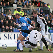 Gretna's Allan Jenkins (4) and St Johnstone's Paul Sheerin in action. Scottish First Division match on 27th January 2007. McDiarmid Park Perth