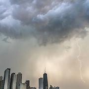 Lightning storm over downtown Chicago. Photo by Alabastro Photography.