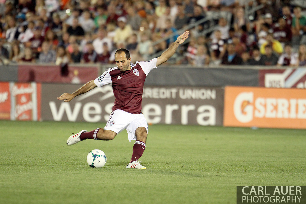 August 17th, 2013 - Colorado Rapids midfielder Nick LaBrocca (2) winds up for a shot attempt in second half action of the Major League Soccer match between the Vancouver Whitecaps FC and the Colorado Rapids at Dick's Sporting Goods Park in Commerce City, CO